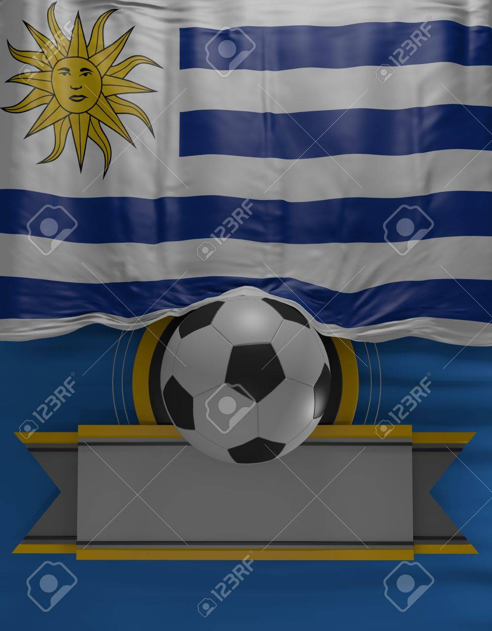 Fußball, Fußball, Flagge Uruguayische Farben, Uruguay Flagge (3D ...