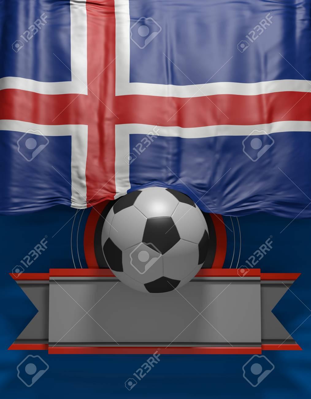 Fußball, Fußball, Flagge Island Farben, Isländische 3D Flagge (3D ...