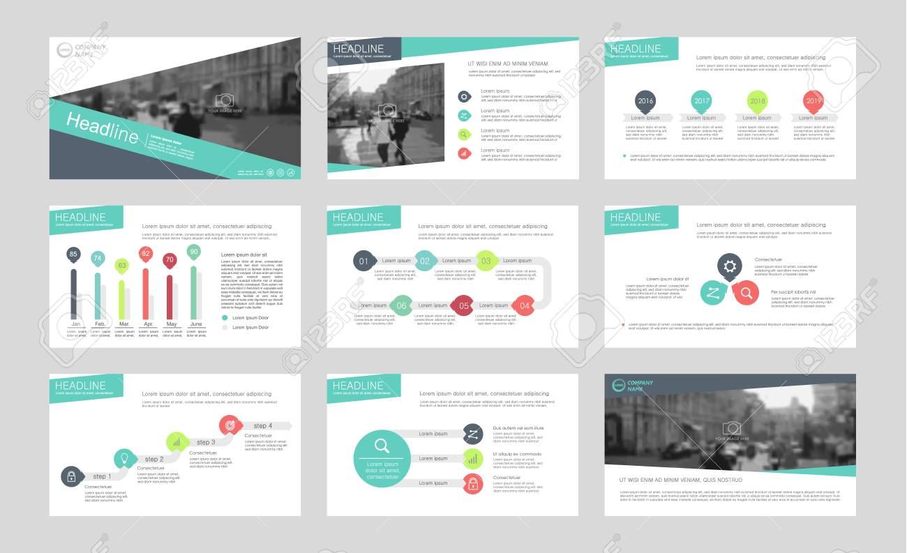 set of color infographic elements for presentation templates
