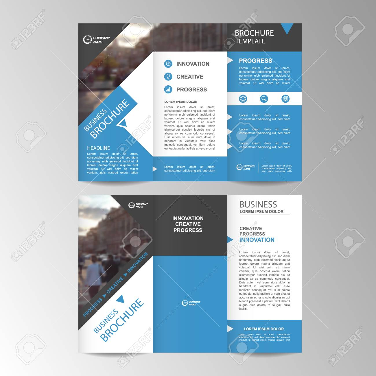 9e42c14d919d9 Foto de archivo - Tríptico geométrico negocios folleto plantilla folleto o  folleto. Conjunto de diseño plano.