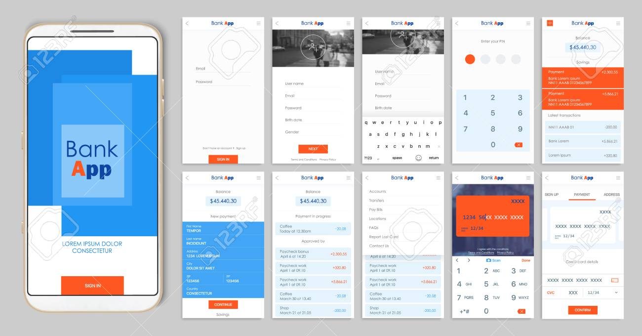 Design Of The Mobile App UI, UX. A Set Of GUI Screens For Mobile ...