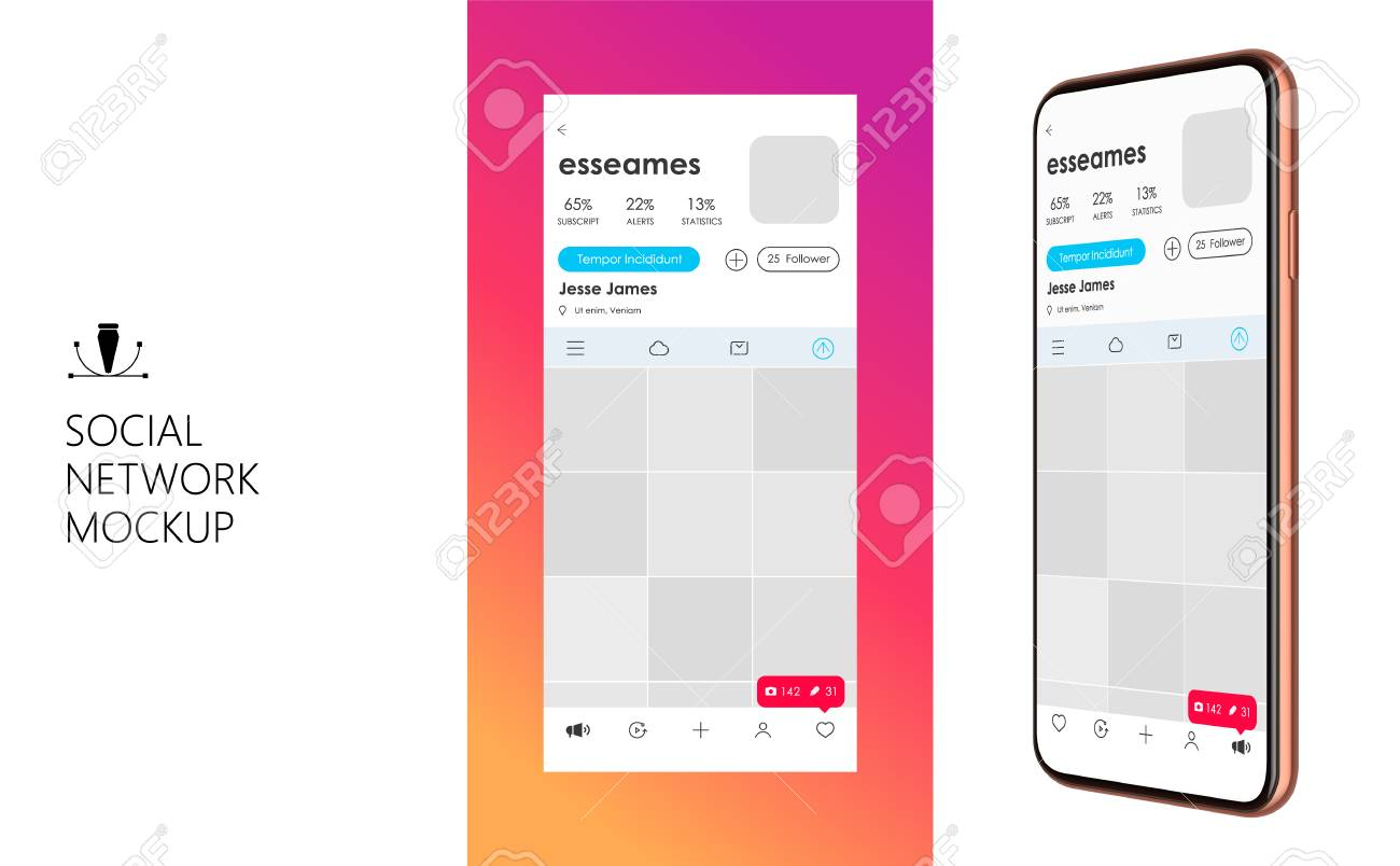 Social Media Mockup  Design of mobile app  Vector Template