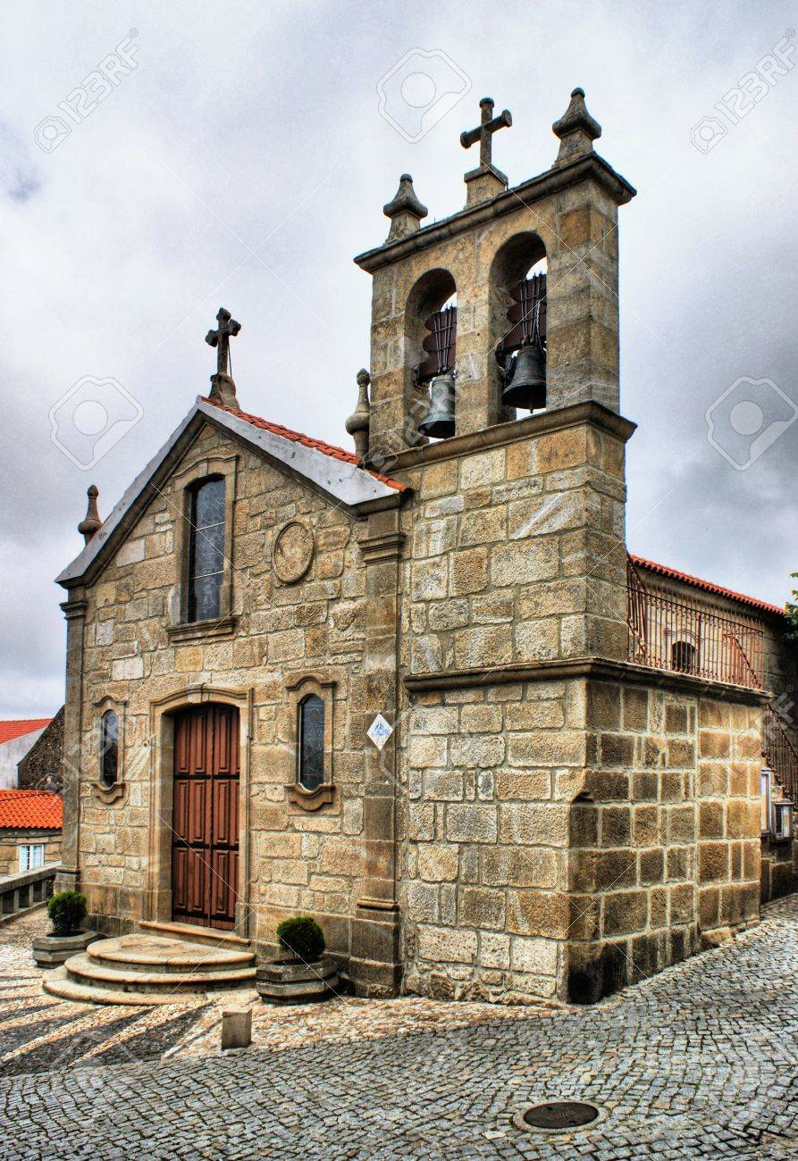 old rural church of folgosinho portugal stock photo