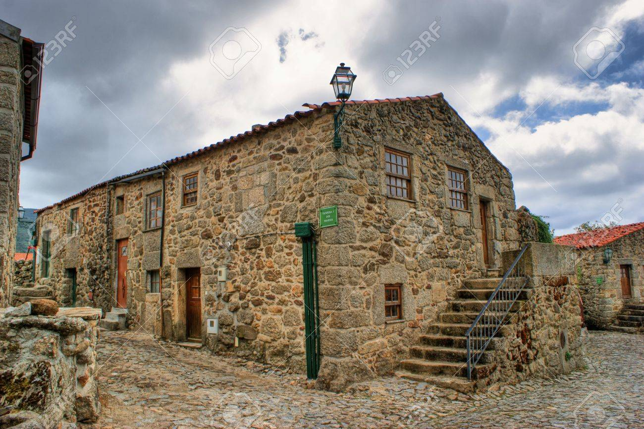 old rural village of linhares da beira portugal stock photo