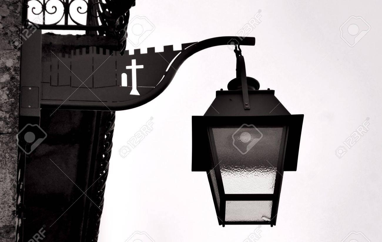 Ancient streetlight in Trancoso, Portugal Stock Photo - 27503853