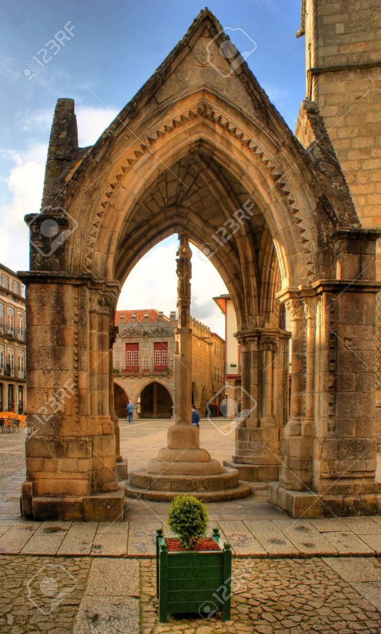 Padrao do Salado monument in Oliveira square, Guimaraes, Portugal Stock Photo - 48118397
