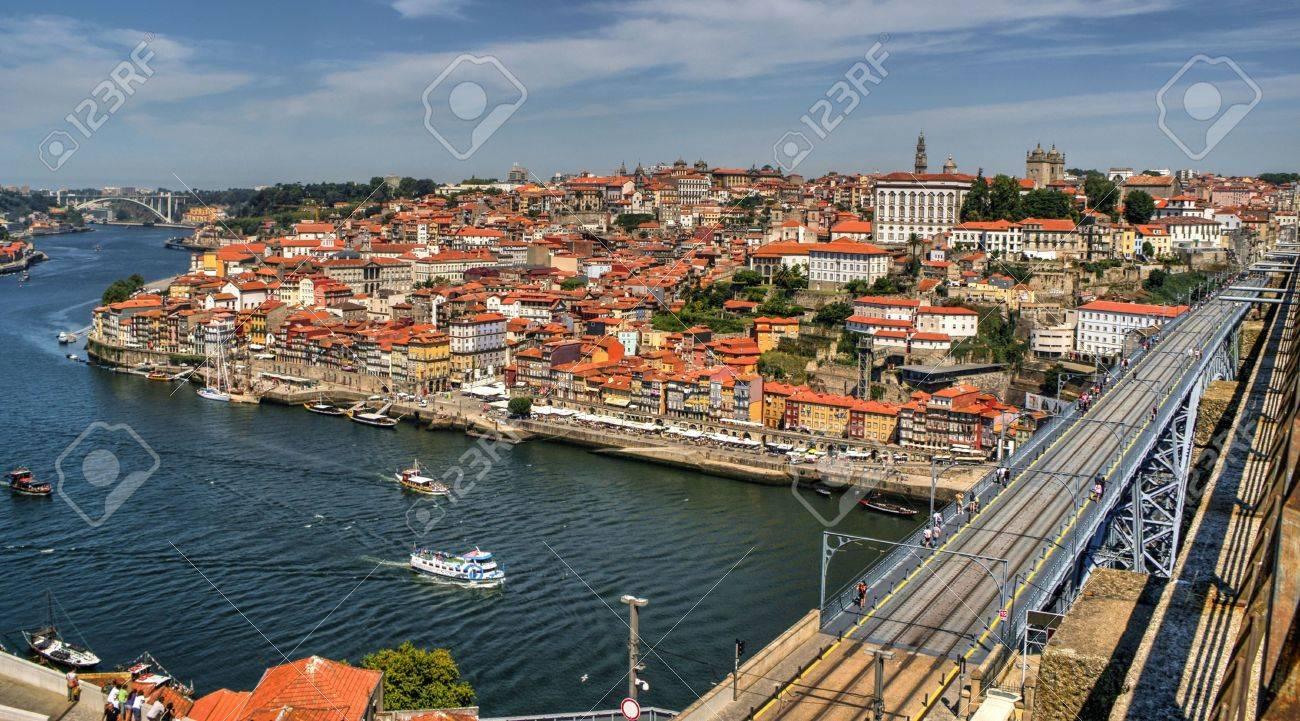 Douro River and Dom Luis I Bridge in Porto, Portugal
