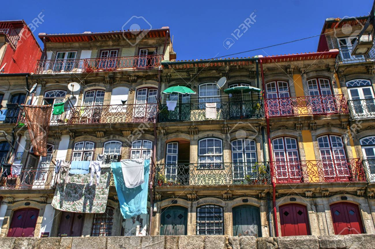 Typical and colorful houses of Ribeira in Porto, Portugal Stock Photo - 68994361