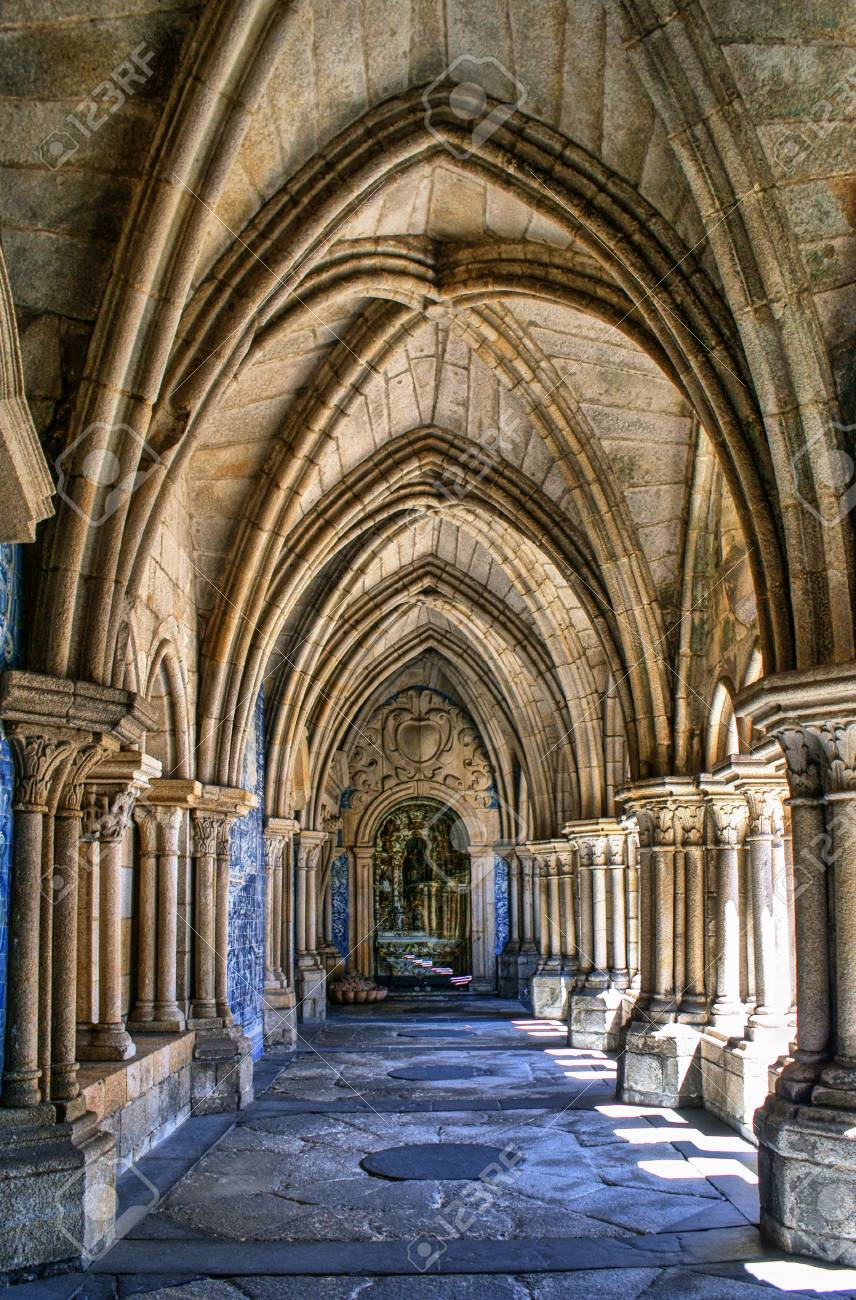 Gothic cloister of the cathedral of Porto in Portugal Stock Photo - 71431719