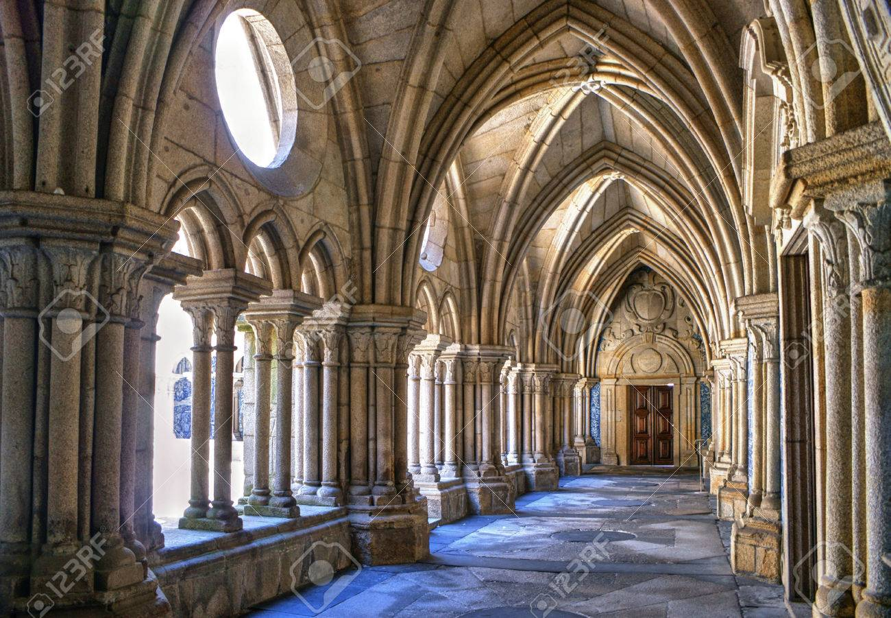 Gothic cloister of the cathedral of Porto in Portugal Stock Photo - 71431771