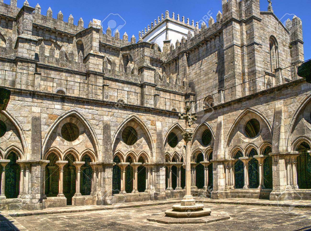 Gothic cloister of the cathedral of Porto in Portugal Stock Photo - 71525737