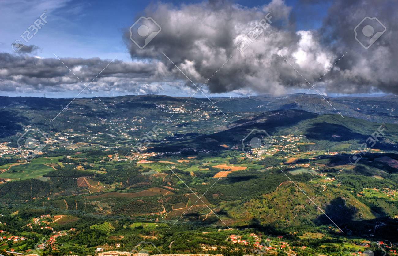 Panoramic view of Farinha mountain in Mondim de Basto, Portugal Stock Photo - 71726532