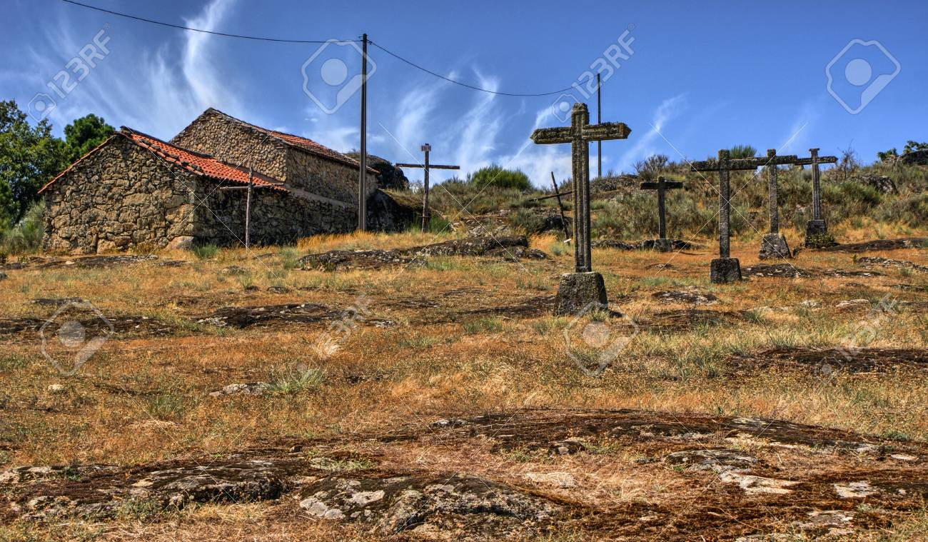 Crosses calvary in a rural village, Vila Real, Portugal Stock Photo - 70805033