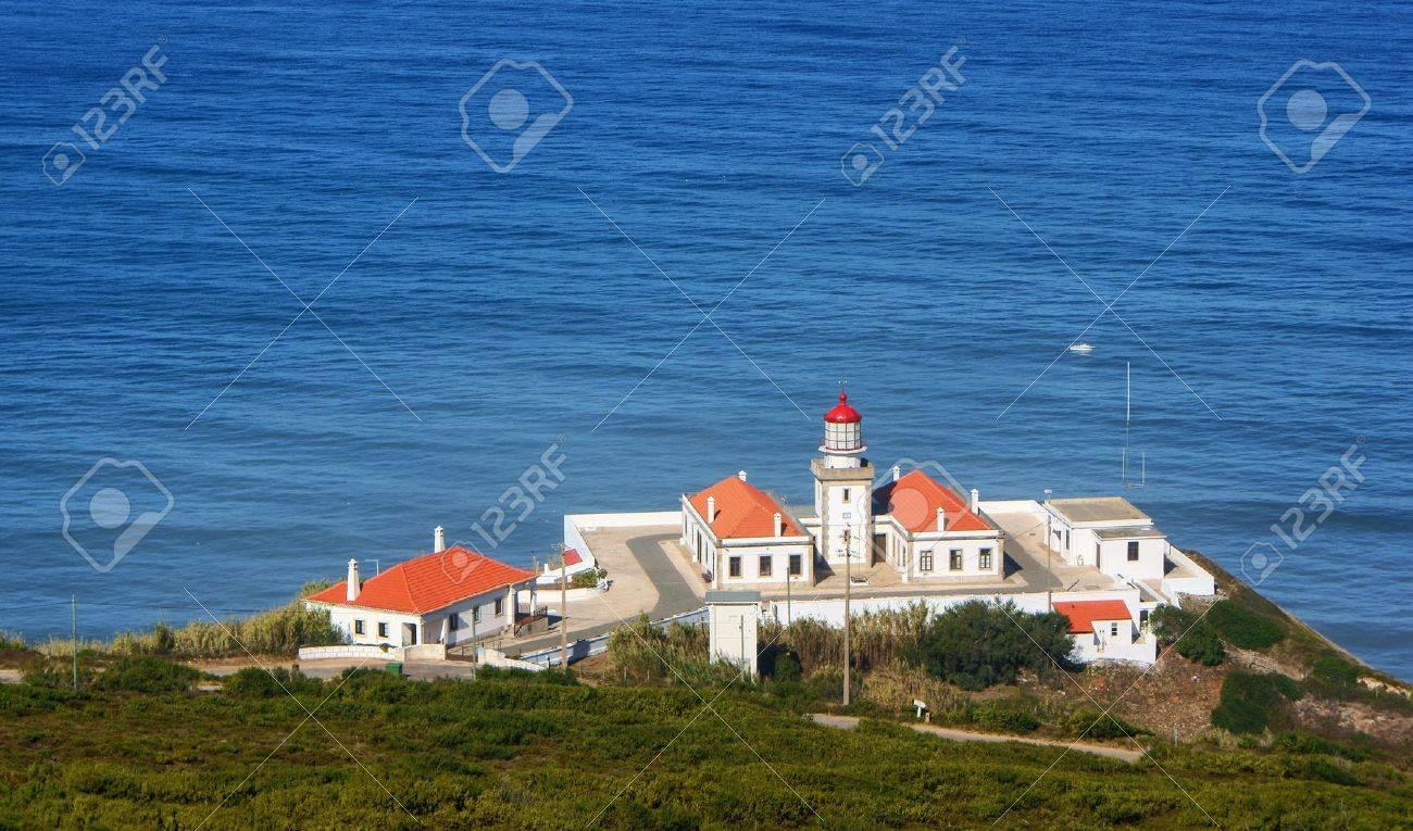 Cape Mondego Lighthouse, Figueira da Foz, Portugal Stock Photo - 73477248