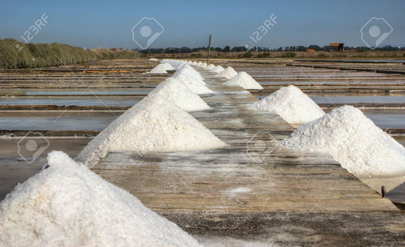 Salt pans on a saline exploration, Figueira da Foz, Portugal Stock Photo - 73298115