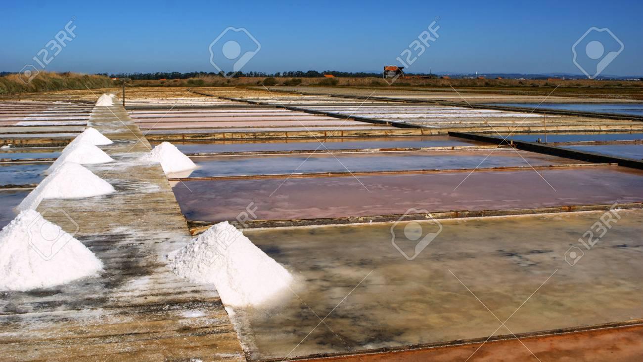 Salt pans on a saline exploration, Figueira da Foz, Portugal Stock Photo - 73081922