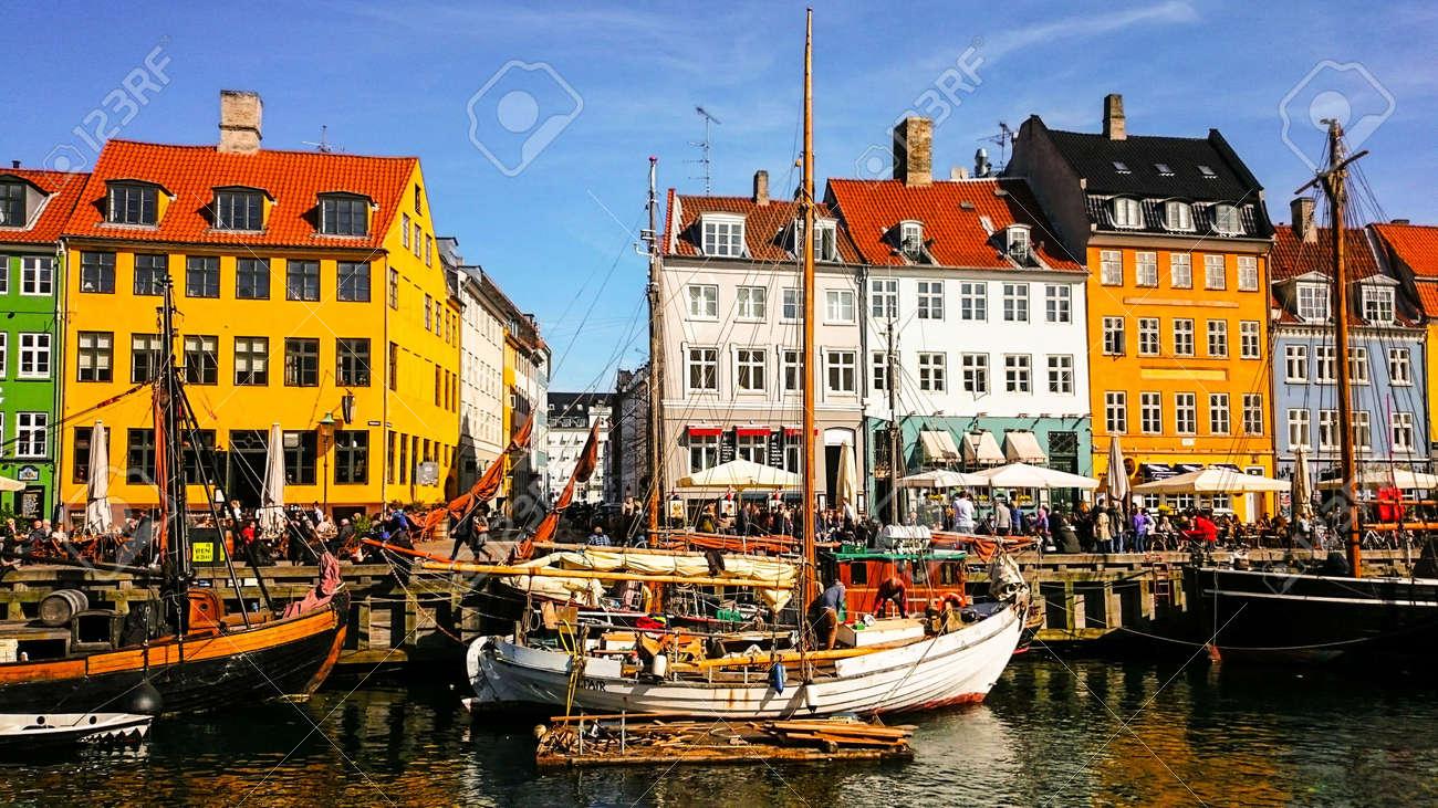 The colorful port of Nyhavn in Copenhagen, Denmark - 159910336