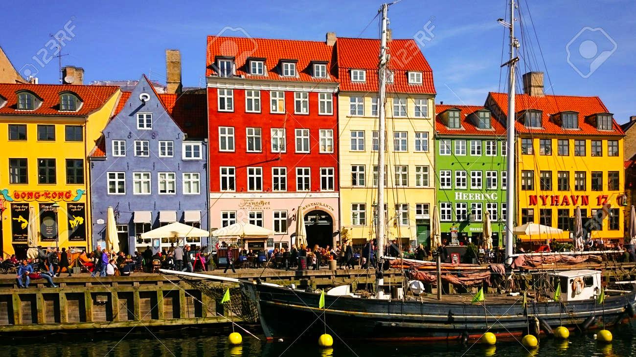 The colorful port of Nyhavn in Copenhagen, Denmark - 159910337