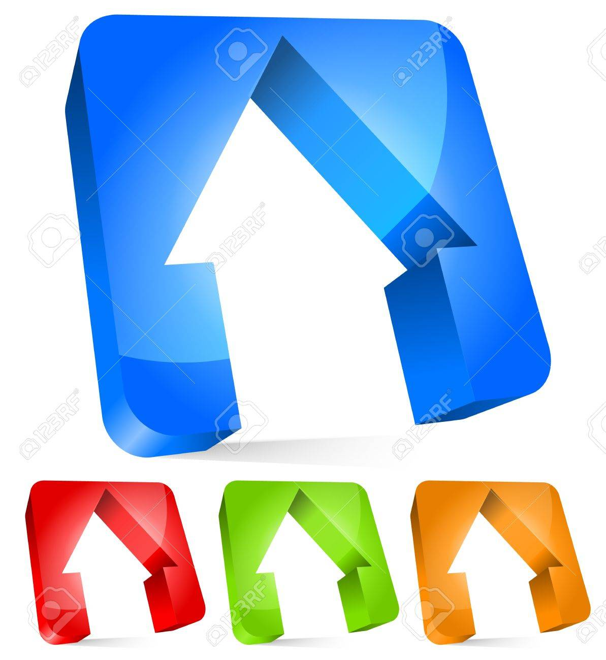 3d houses cut from rounded rectangles, house, home, real estate concepts Stock Vector - 20961512