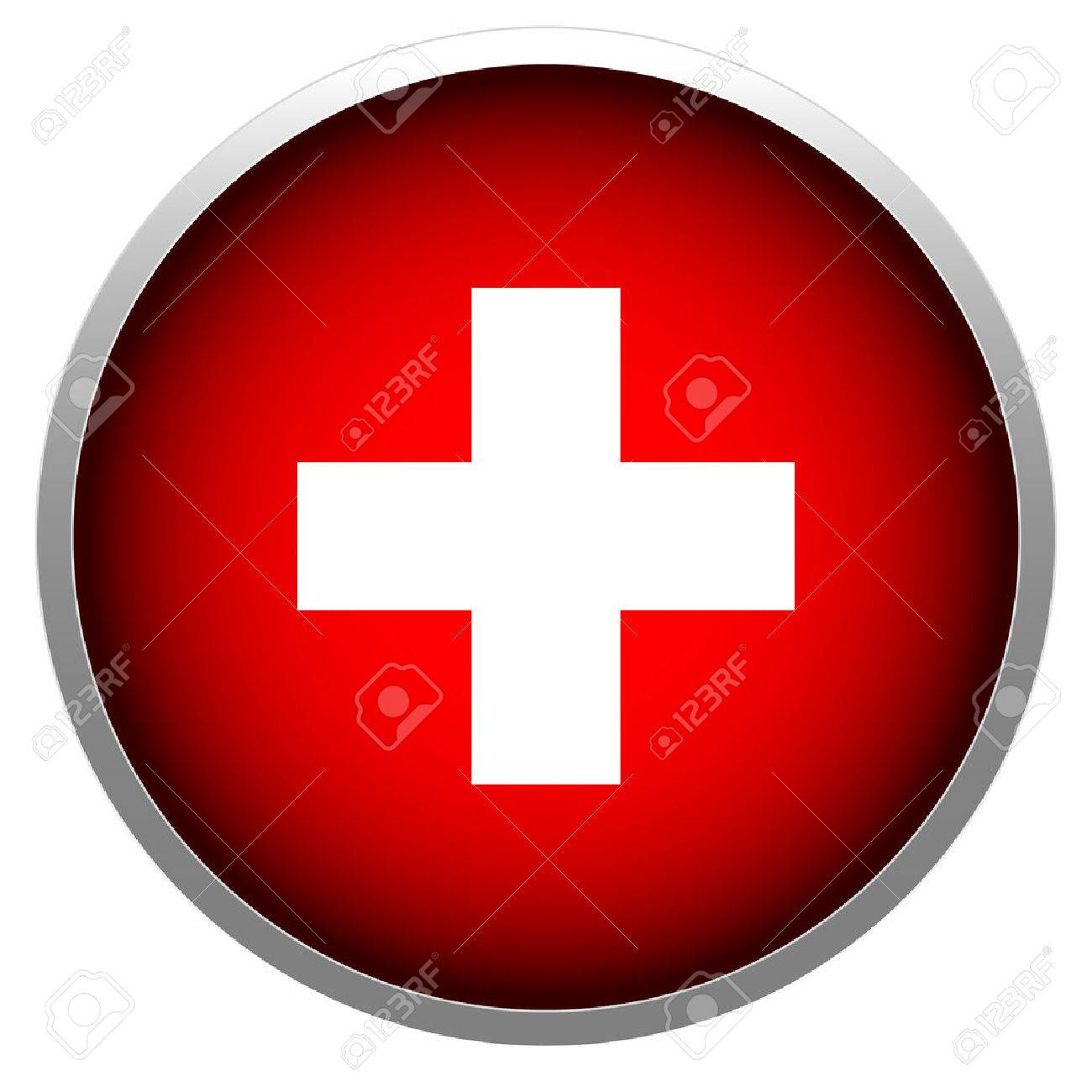 Red cross in sphere stock illustration. - 27876045