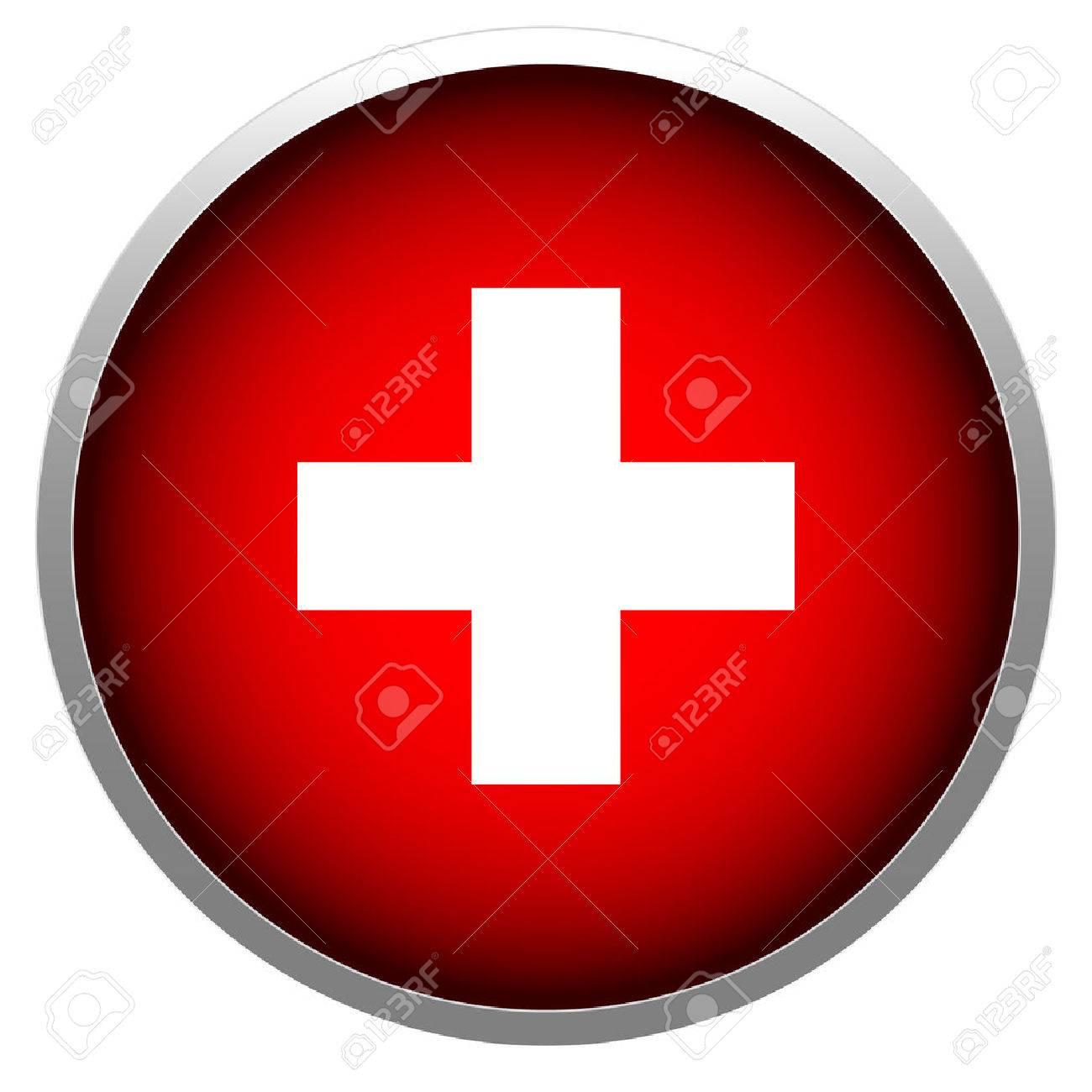 Red cross in sphere stock illustration. Stock Vector - 27876045
