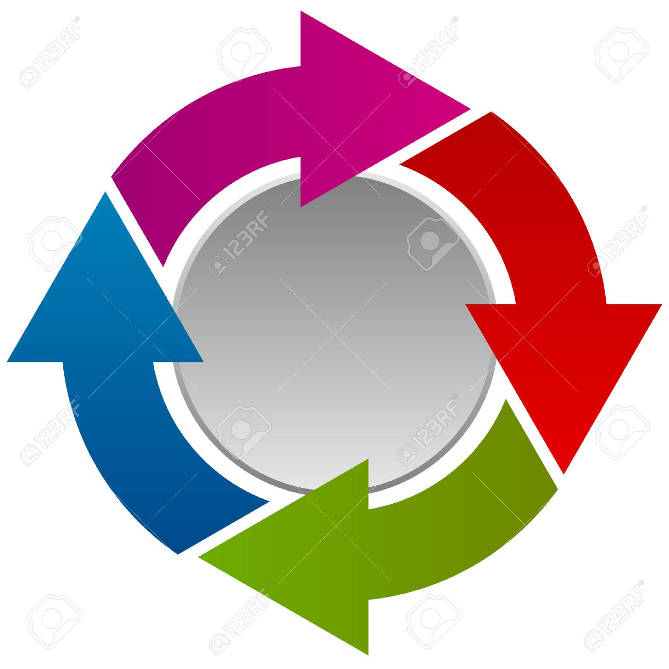 circular arrows flow chart with circle presentation info graphics rh 123rf com