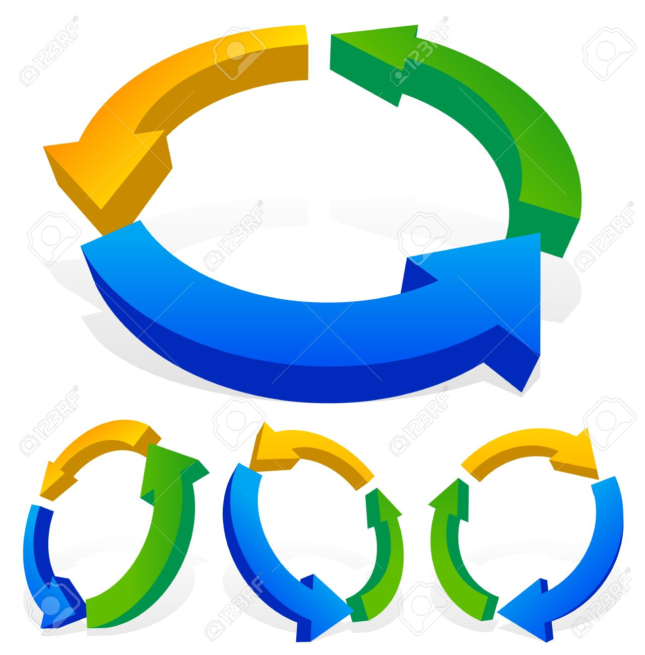 Process cycling arrow by arrow royalty free stock images image - Bold 3d Multicolor Arrows Cycle Loop Process Circulation Cyclic Concepts