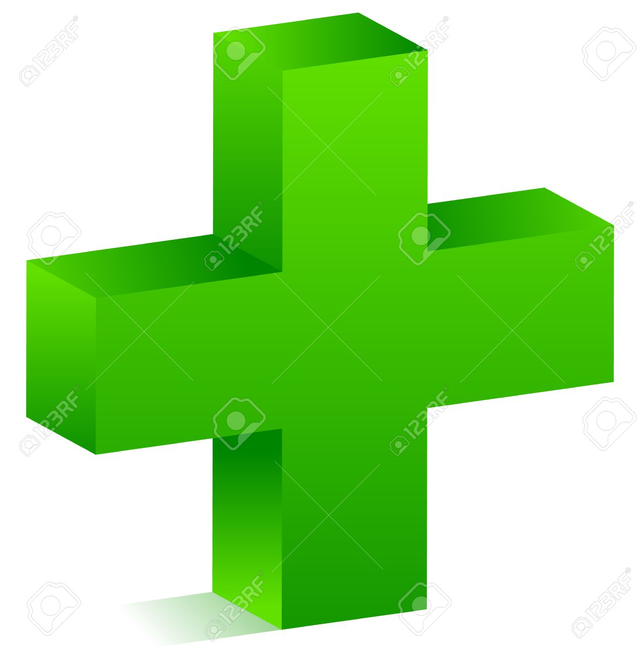 3d Green Cross For Healthcare, Support, First Aid Concepts ...