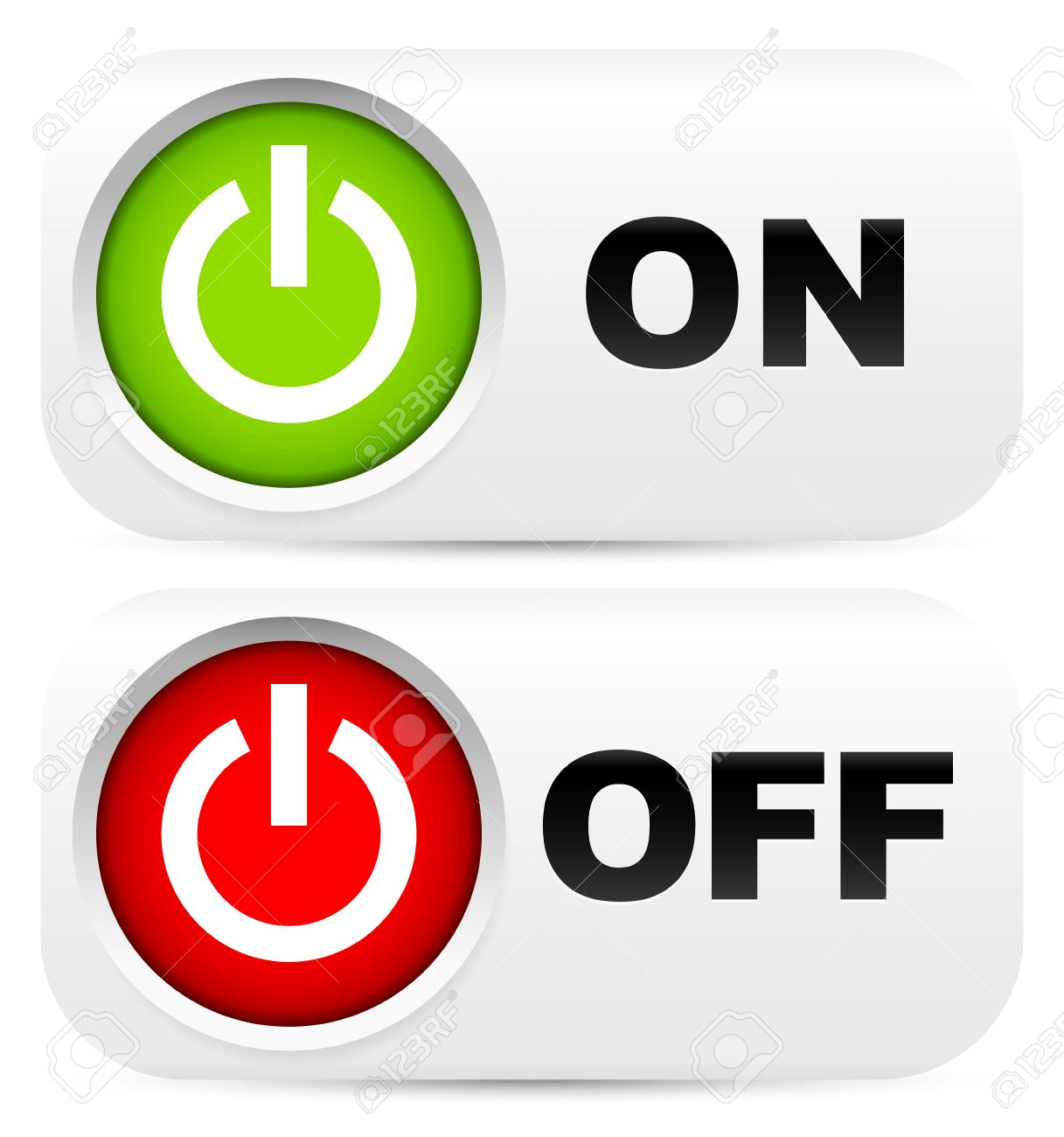 Power Buttons With On Off Labels Royalty Free Cliparts Vectors