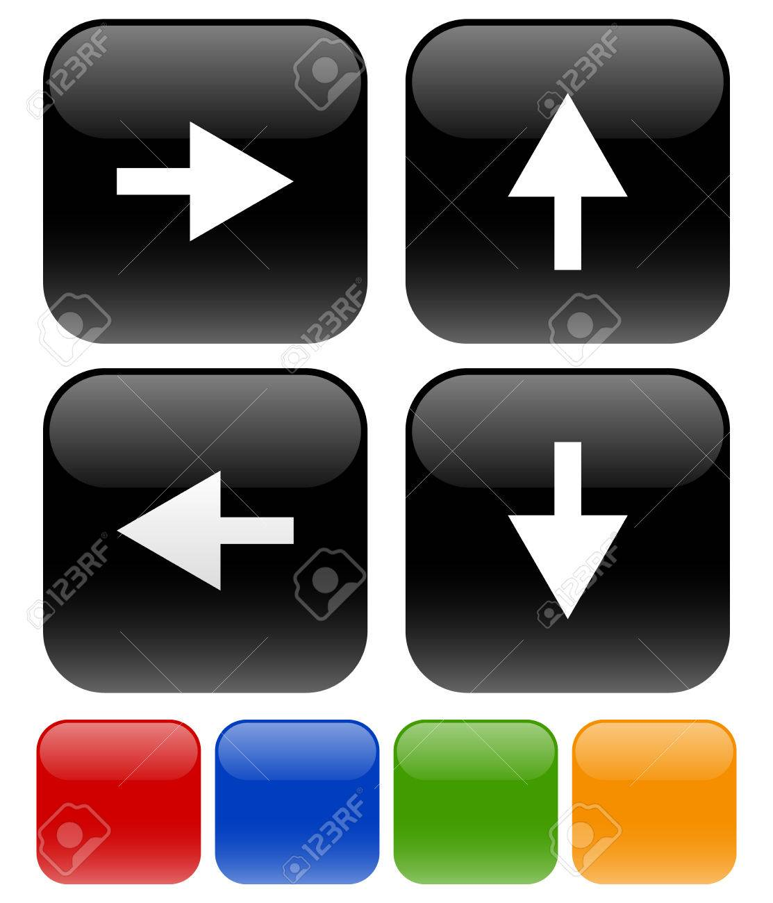 Vector Illustration Of Icons With Arrow Symbols On Rounded Squares