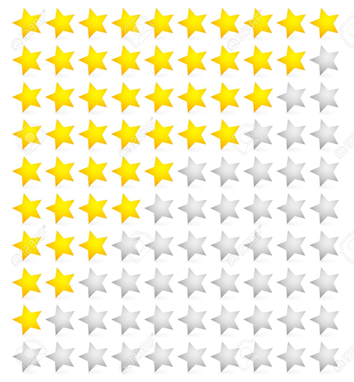 Yellow And White Glossy Stars Icon Set For Rating And Survey Stock ...