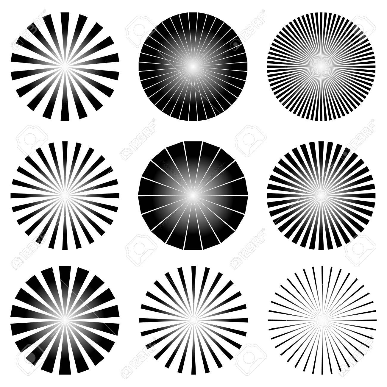 vector vector illustration of radial elements set starburst or sunburst backgrounds rays template