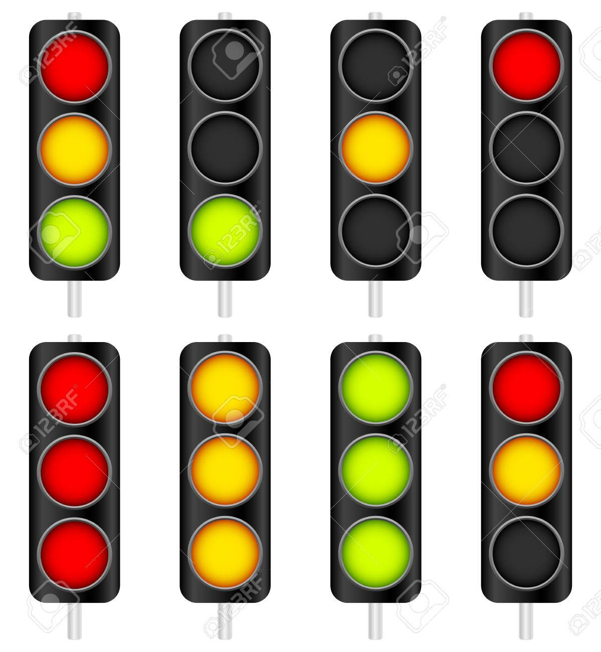 Vector Illustration Of Traffic Light / Traffic Lamp Set. Vector  Illustration. Stock Vector