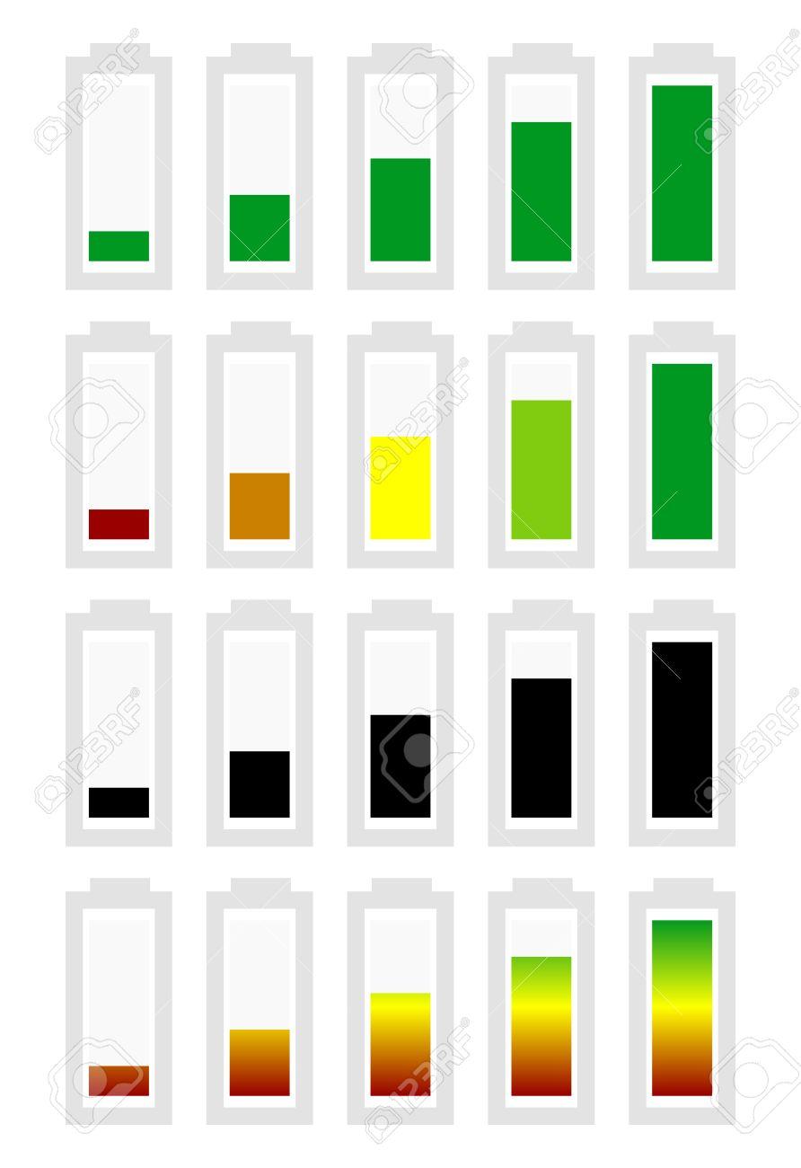 Symbole Indicateur De Niveau De Batterie Réglé De Faible à élevé ...