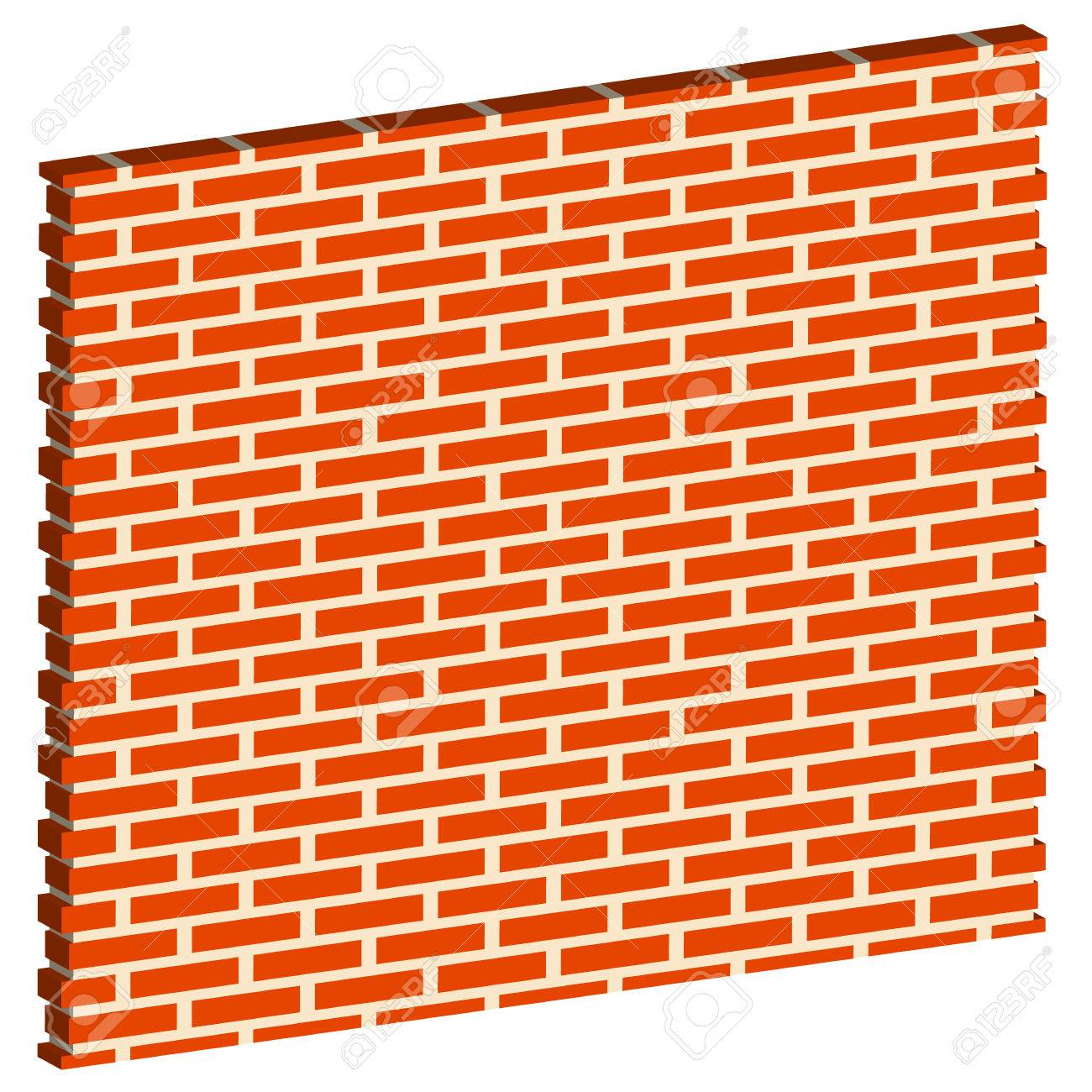 3D Spatial Brick Wall Brickwork With Regular Pattern Isolated On White Editable Vector