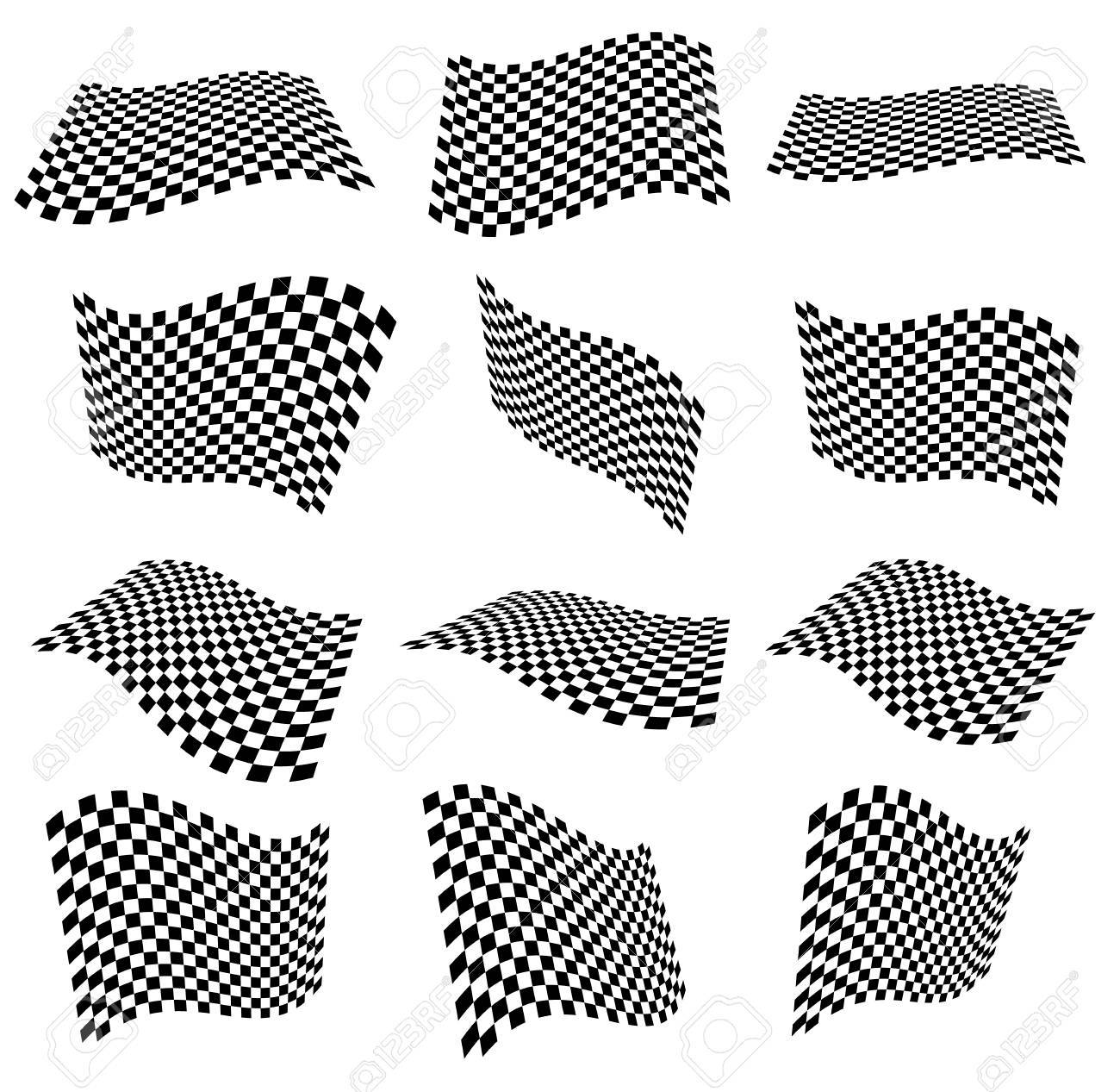 Waving checkered flags, surfaces. 3d planes with checkered surface - 38881957