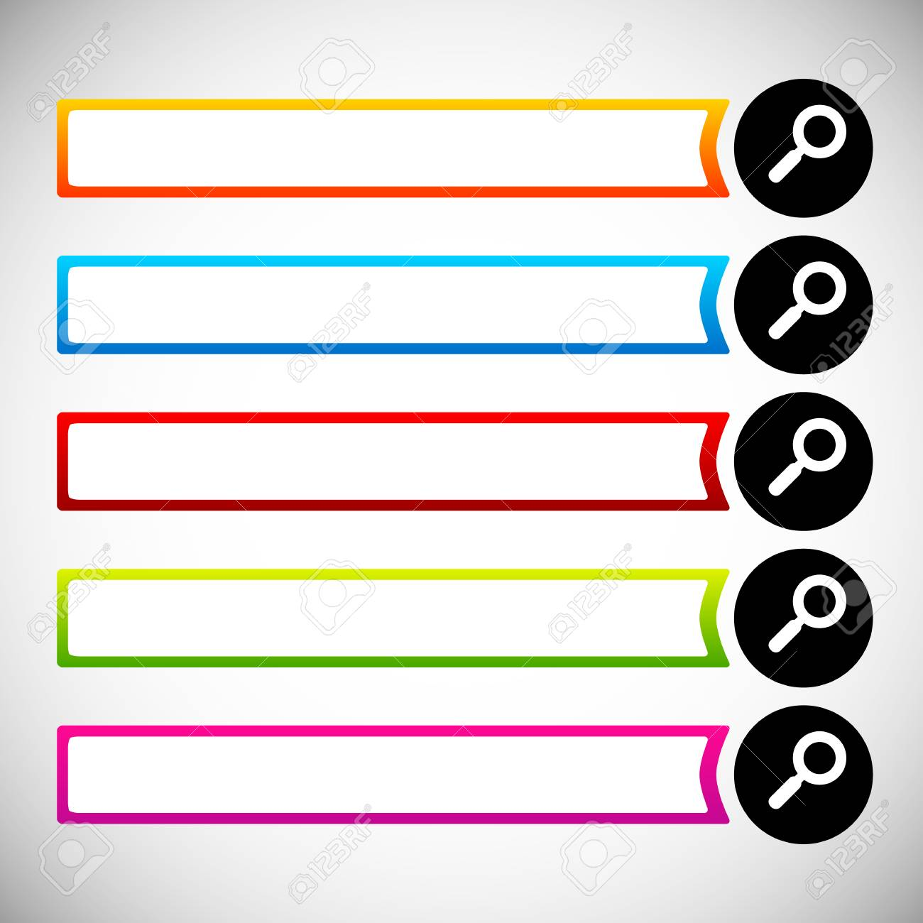 Search Bars Buttons With Magnifier Glass Symbols Royalty Free