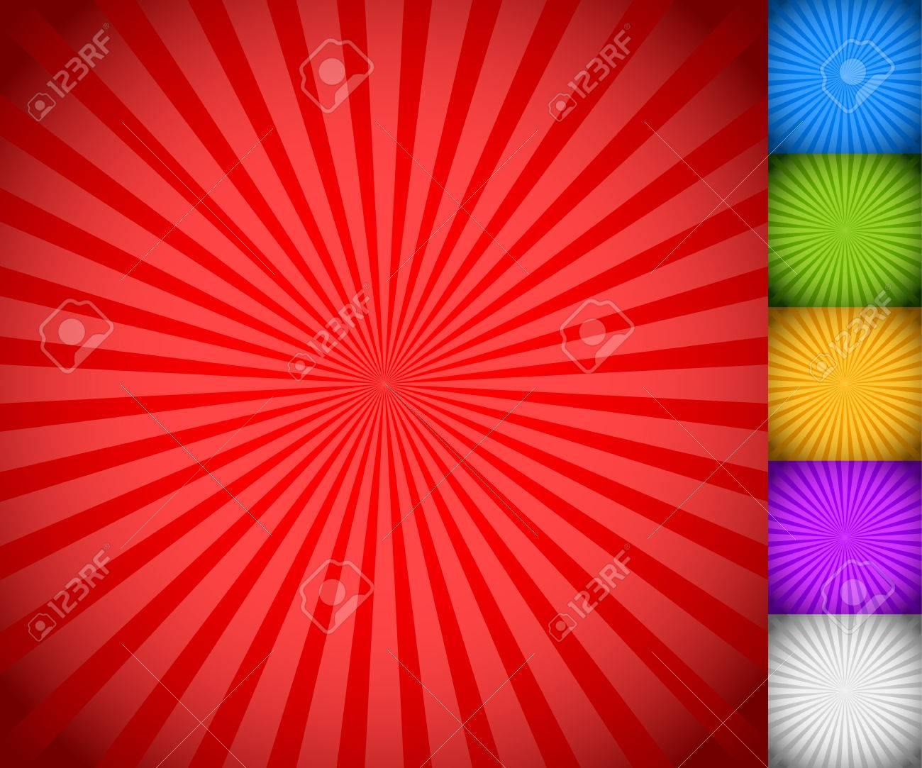 Sunburst, starburst background set, colorful rays, beams. Blue, green, yellow, purple and white versions. - 39515888