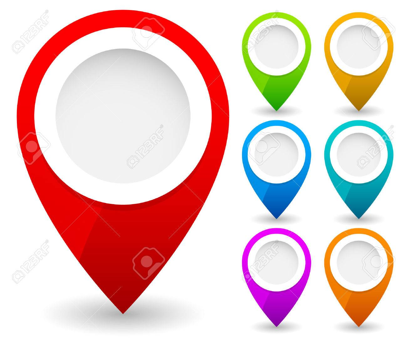 map marker map pin vector map markers with circles with blank space 7