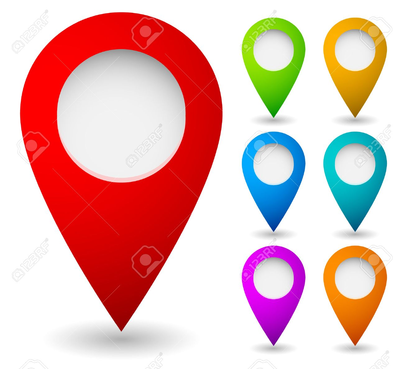 Map marker, map pin vector. Map markers with circles with blank space. 7 colors. Vector graphics. - 40929673