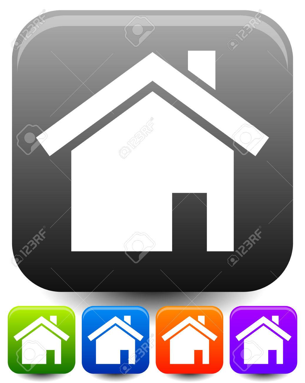House Symbols On Rounded Squares With Highlight Effect Icons