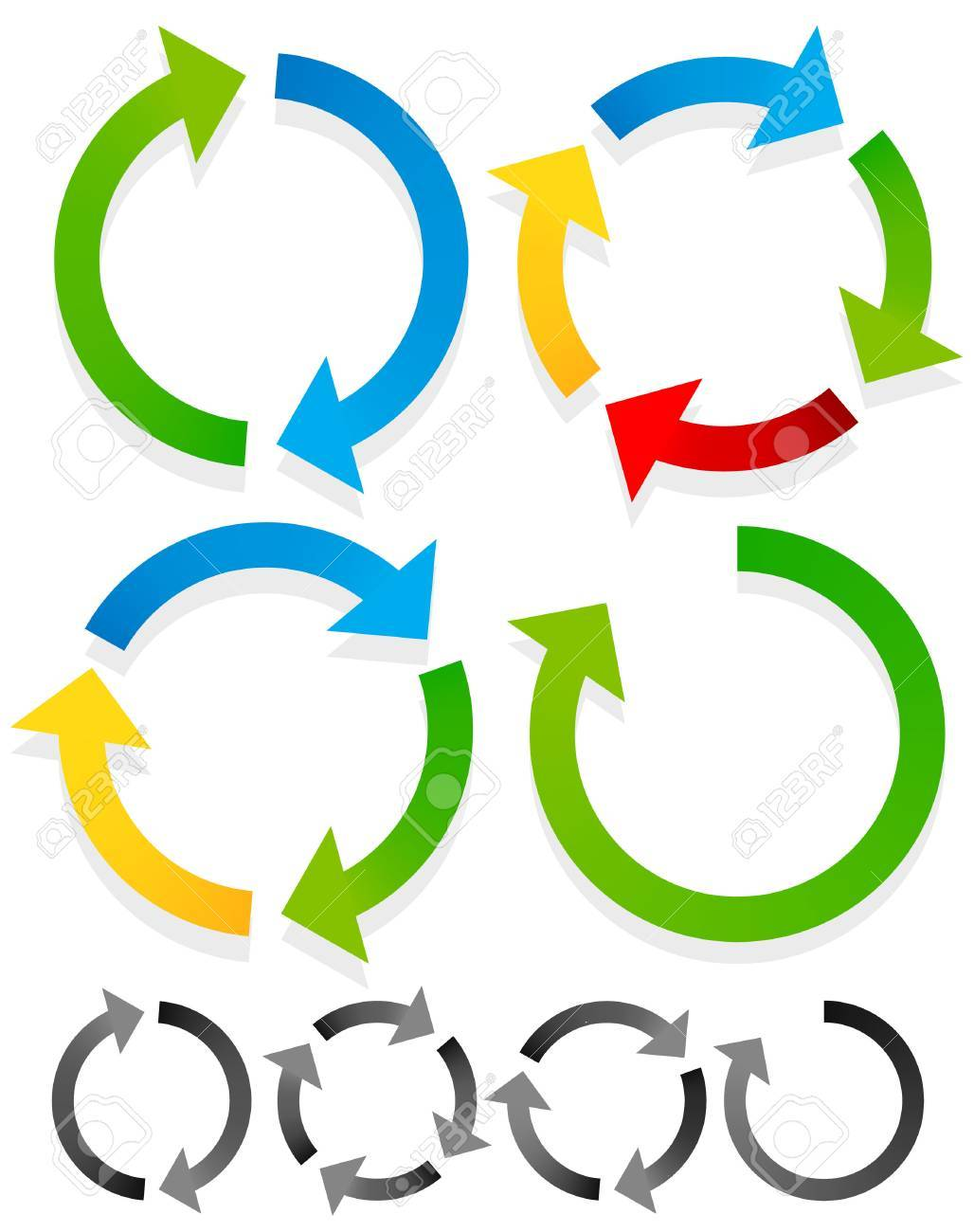 Circular arrows for recycle, repetition, rotation or cycle, synchronization, forward, backward concepts. Arrows in circle vector graphics. - 43529683
