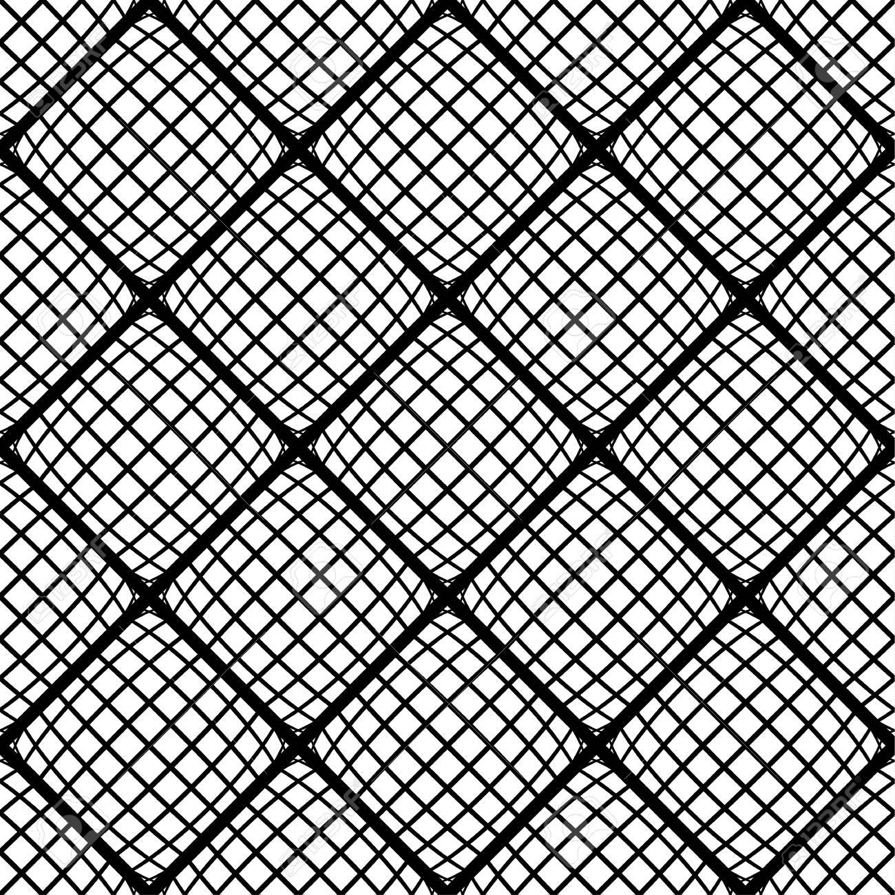 Zwart Wit Tegels.Mozaiek Achtergrond Met Vervormde Tegels Van De Pleinen Abstracte Zwart Wit Patroon Naadloos Herhaalbare Vector