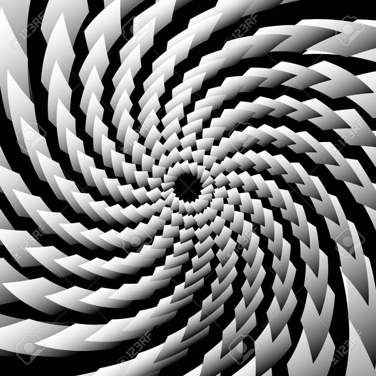 らせん、渦巻き模様の背景、パターン。グレースケールの抽象的なイラスト