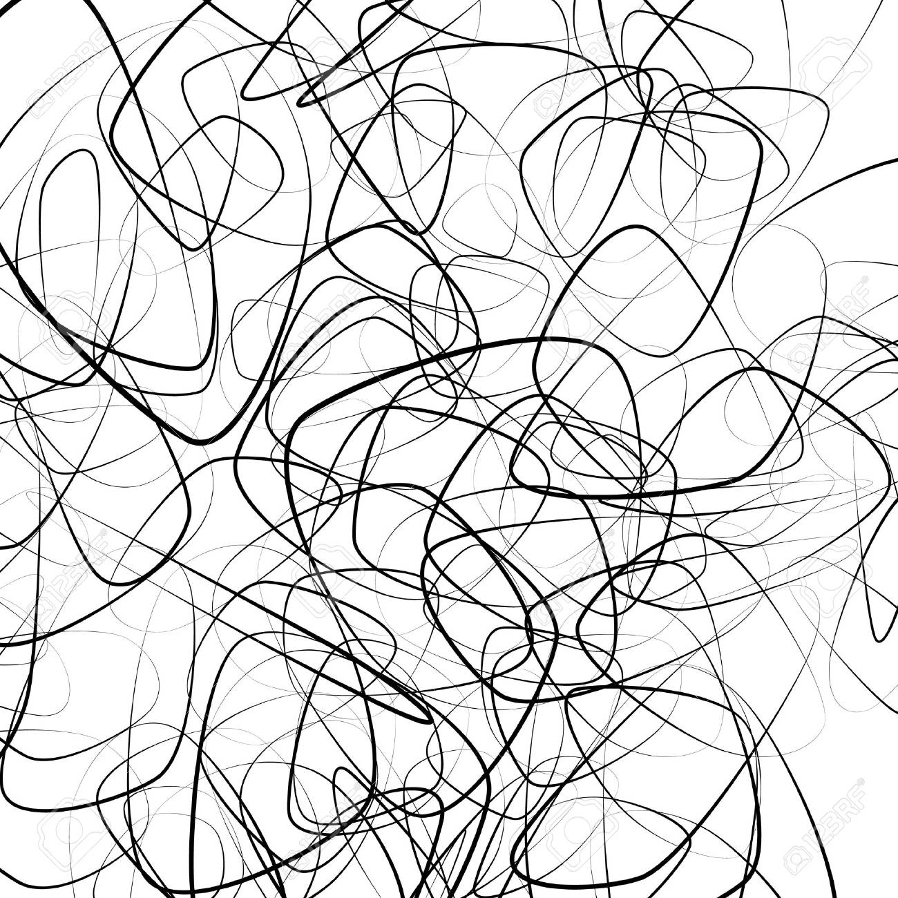 Random squiggly, chaotic lines. Artistic monochrome image. - 56394214