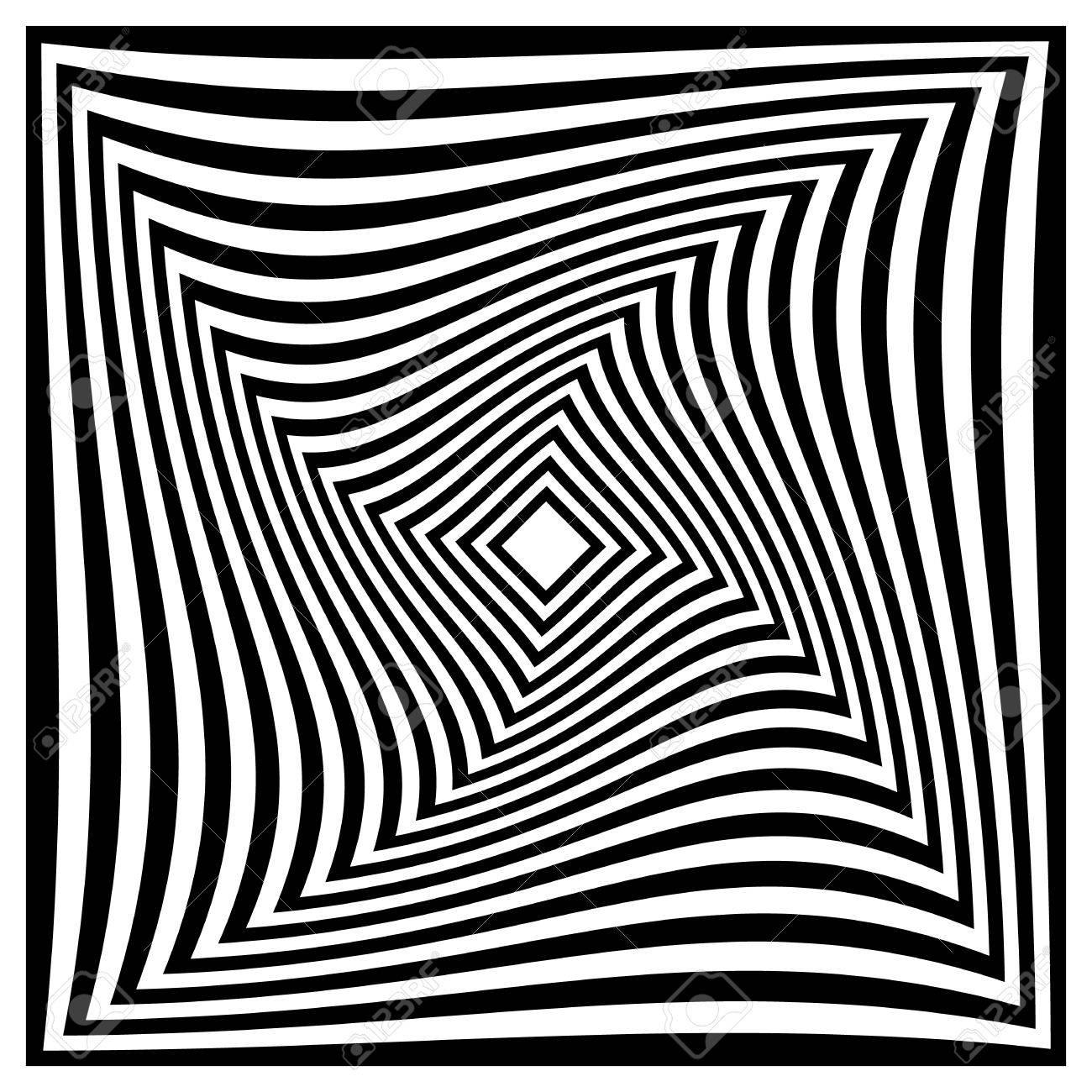 抽象的な白黒パターンを正方形螺...