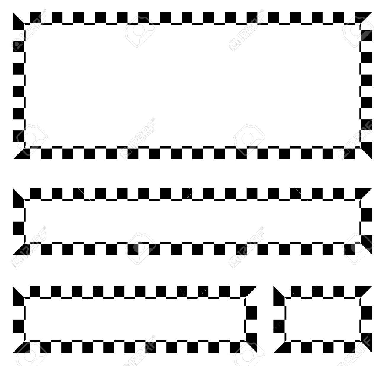 Set Of Blank Banners Plaques With Checkered Borders For Racing Auto Sport Motor