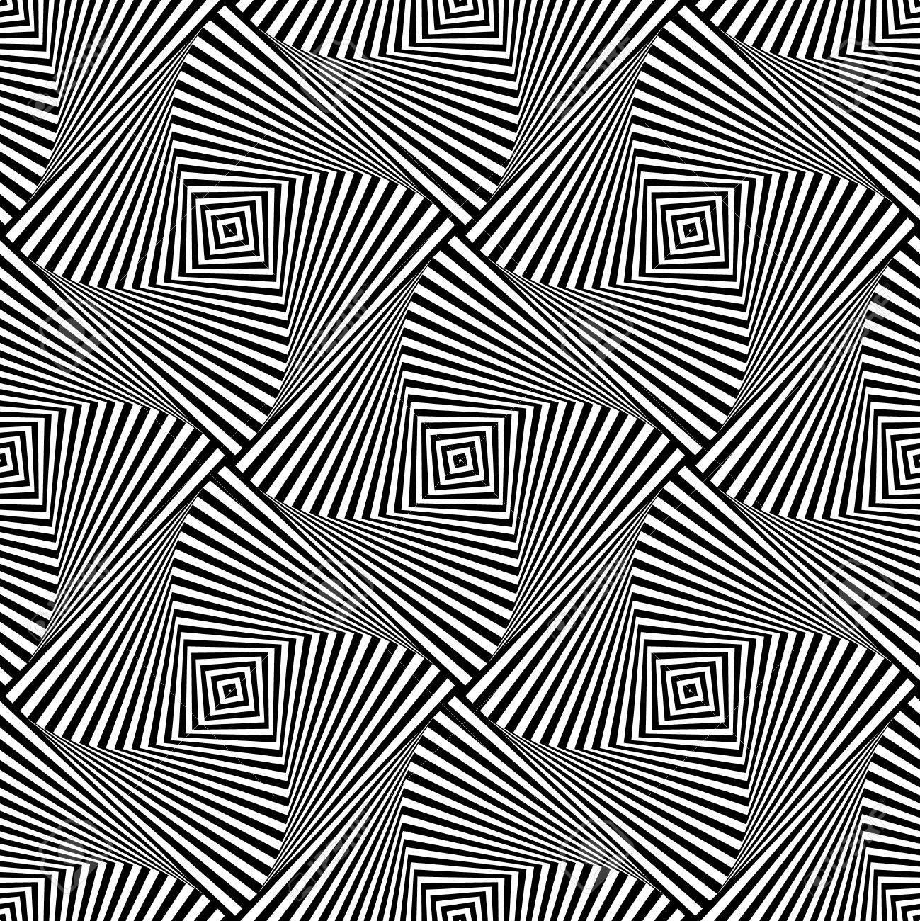Rotating squares repeatable abstract pattern. Monochrome texture - 58892868