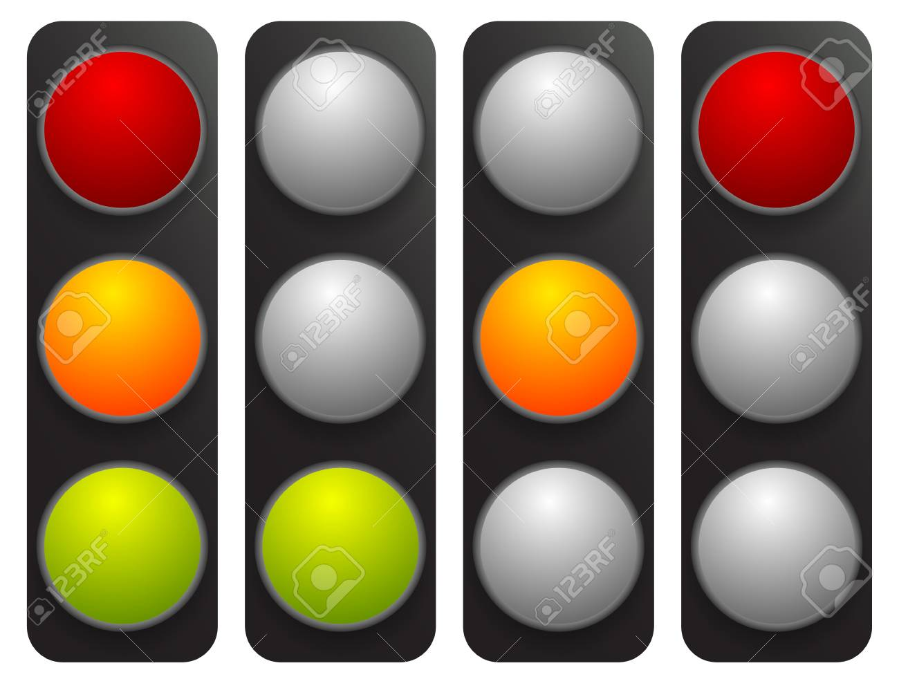 Simple Traffic Light / Traffic Lamp Set In Sequence. Control Lights, Allow,  Disallow
