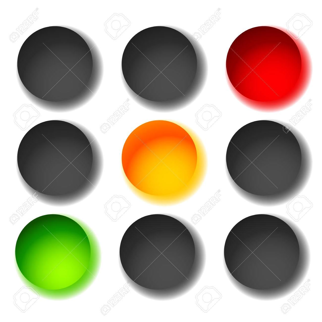 Ampel Symbole Auf Weiss Isoliert Grun Gelb Rot Licht Symbole
